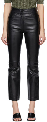 Stand Studio Black Leather Avery Crop Pants
