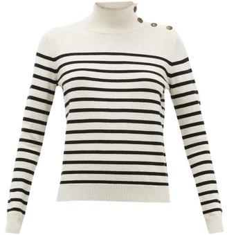 Nili Lotan Beale Striped High-neck Cashmere Sweater - Ivory Multi