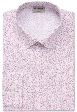 Kenneth Cole Reaction Men's Slim-Fit All Day Flex Performance Stretch Printed Dress Shirt