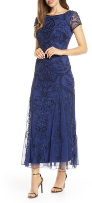 Pisarro Nights Short Slv Beaded Gown