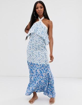 ASOS DESIGN high neck tiered maxi beach dress in mixed paisley print