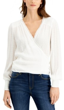 INC International Concepts Inc Long-Sleeve Wrap Top, Created for Macy's