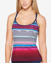 Jag Variegated-Stripe Strappy-Back Tankini Top Women's Swimsuit