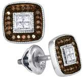 Saris and Things 10kt White Gold Womens Round Cognac- Colored Diamond Square Cluster Earrings 1/3 Cttw