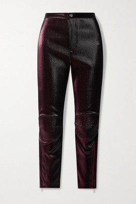 Area Lurex Skinny Pants - Burgundy