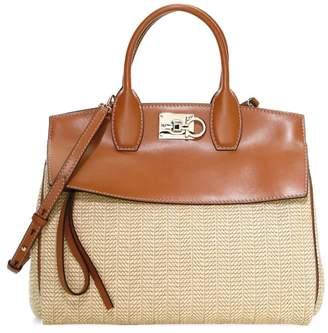 Salvatore Ferragamo Medium Studio Canvas & Leather Top Handle Bag