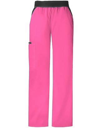 Cherokee Women's Plus Size Scrubs Flexibles Mid-Rise Contrast Waist Pull on Pant