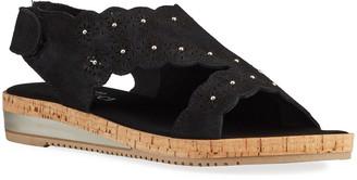 Sesto Meucci Sara Laser-Cut Suede Sandals