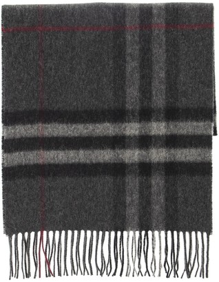 Burberry Classic Check Cashmere Scarf Charcoal