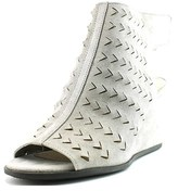 Via Spiga Leatrice Women Open Toe Suede Gray Wedge Heel.