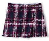 Classic Little Girls Fringe Woven Wrap Skirt-Rubellite Plaid