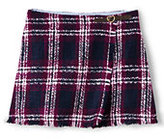 Lands' End Little Girls Fringe Woven Wrap Skirt-Rubellite Plaid