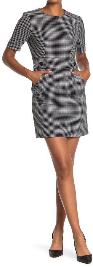 Veronica Beard Teddi Checked Short Sleeve Sheath Dress