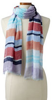 Lands' End Women's Multi Stripe Cotton Scarf-Tangerine Zest Hibiscus