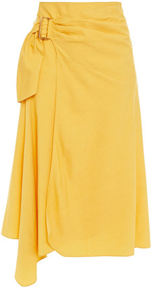 Vince Buckled Draped Woven Midi Wrap Skirt