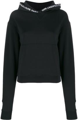Karl Lagerfeld Paris embroidered logo hoodie