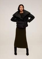 MANGO Funnel neck feather coat black - M-L - Women