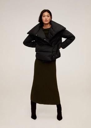 MANGO Funnel neck feather coat black - XS-S - Women