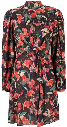 Saloni Floral Print Silk Mini Dress
