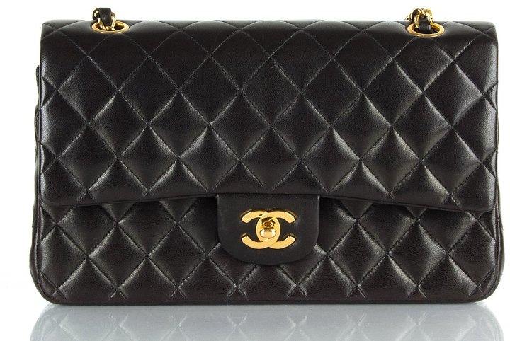 Chanel Women's Black Vintage Matelassé Double Chain Shoulder Bag