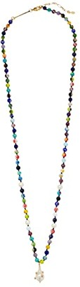 Rebecca Minkoff Rainbow Bead Long Strand Necklace w/ Baroque Pearl Pendant (Gold/White) Necklace
