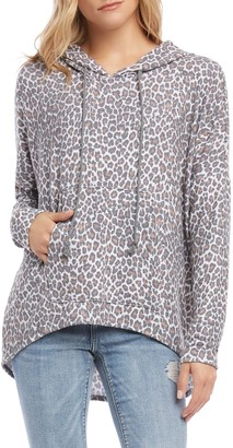 Karen Kane Faded Leopard High/Low Hoodie