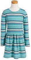 Pumpkin Patch Stripe French Terry Dress (Toddler Girls & Little Girls)