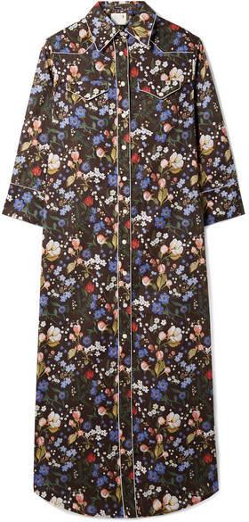 R 13 Floral-print Cotton-voile Midi Dress - Black