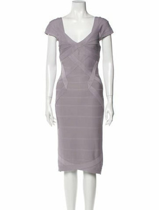 Herve Leger V-Neck Midi Length Dress Purple