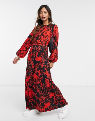 Closet London gathered midaxi dress with split in contrast floral