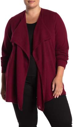 Magaschoni M Waterfall Open Front Cashmere Cardigan (Plus Size)