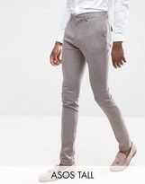 Asos Tall Wedding Super Skinny Suit Pants In Houndstooth