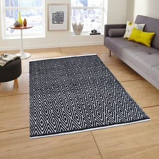 Loon Peakâ® Drexel Geometric Handmade Flatweave Cotton Black/White Area Rug Loon PeakA