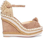 Christian Louboutin Madcarina 120 Spiked Suede Wedge Sandals - Beige