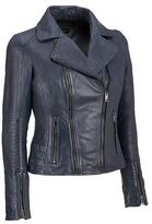 Black Rivet Womens Asymmetric Leather Jacket W/ Decorative Stitching