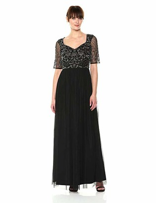 Adrianna Papell Women's Long Tulle Dress Beaded