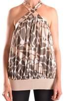 Class Roberto Cavalli Women's Beige Silk Top.