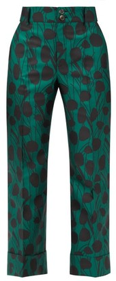 La DoubleJ Hendrix Satin-jacquard Trousers - Womens - Green Print