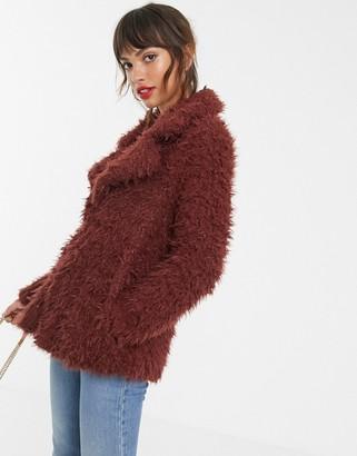 Vero Moda faux shaggy fur jacket in brown