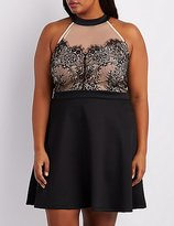 Charlotte Russe Plus Size Lace Bodice Skater Dress