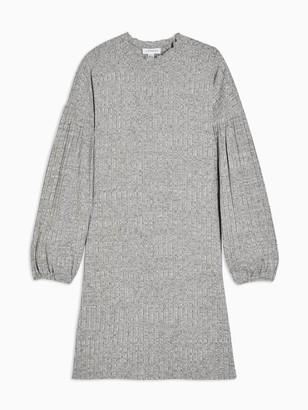 Topshop Cut & Sew Balloon Mini Dress - Grey Marl