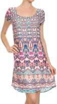 ReneeC. Women's Printed Capped Sleeve Scoop Neck Cute Mini Party Dress