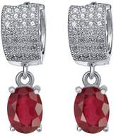 Gem Stone King 3.67 Ct Oval African Red Ruby 925 Sterling Silver Earrings