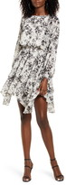Socialite Floral Handkerchief Hem Long Sleeve Satin Dress