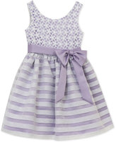 Rare Editions Stripe Lace Dress, Little Girls (2-6X)