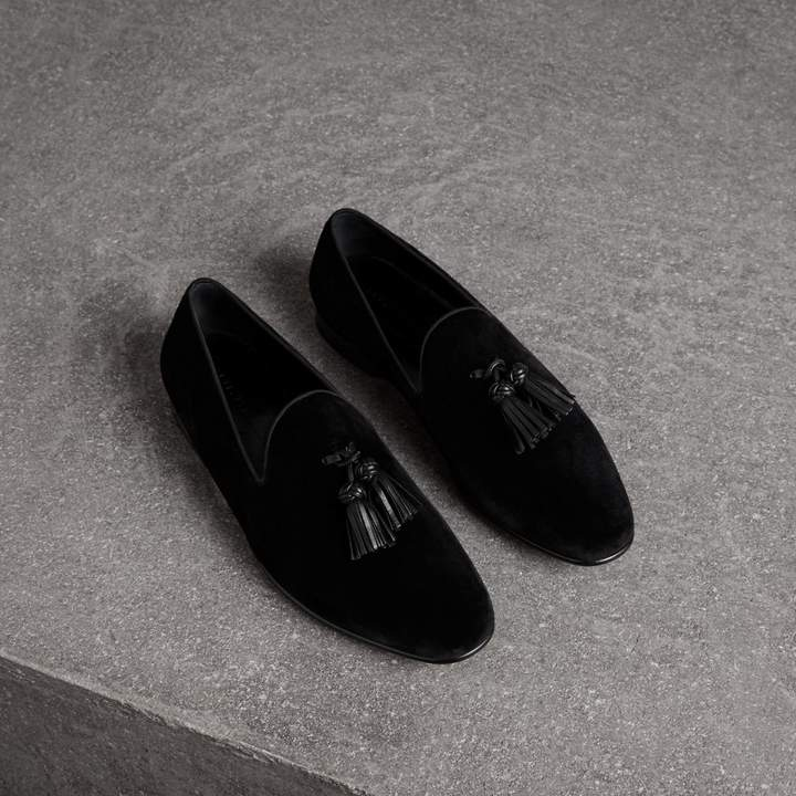 Burberry Tassel Detail Velvet Loafers