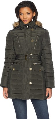 London Fog Women's Luxurious Belted Down Coat with Removable Hood