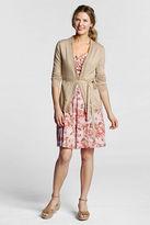 Lands' End Women's Regular Original Pattern Cotton V-neck Flare Dress