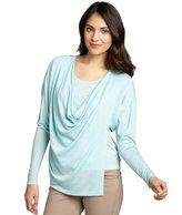 Lafayette 148 New York sea blue wool cowl neck long sleeve wrap blouse