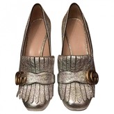 Gucci Marmont Silver Leather Heels